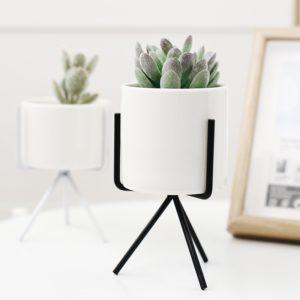 Keramik Vase Weiß mit Metallständer